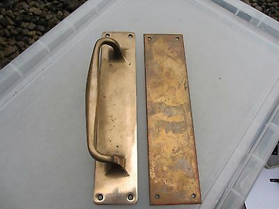 Vintage Bronze Door Handle Set Shop Pull Finger Plate Architectural Antique Old