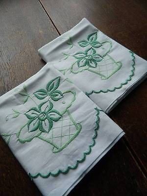 Pair of vintage white cotton pillowcases - embroidery - green flower baskets