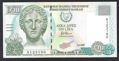 CYPRUS 1997 10 POUNDS BANKNOTE GEM UNC and PERFECT World Money Currency Note