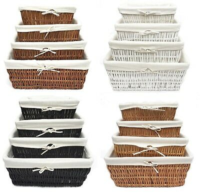 Large Big Wider Full Wicker Hamper Basket Kitchen Storage Lined Handle Basket