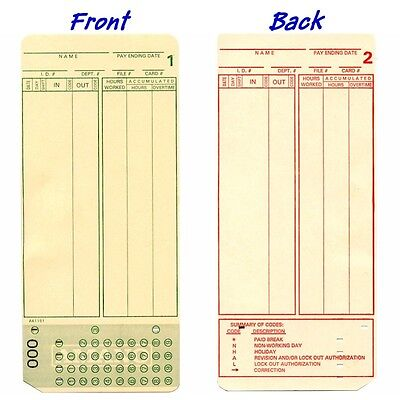 1000 count, Form A1181 Amano MJR7000, MJR8000 Time Cards, numbered 000-099