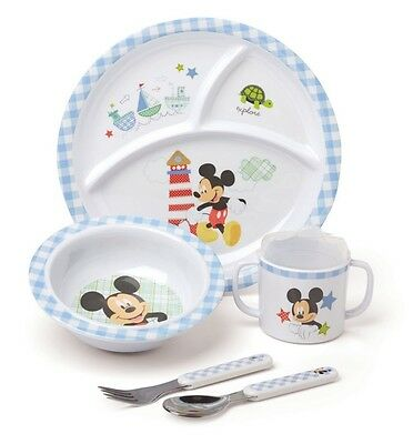 Kids Preferred Disney Baby 5 Pc Melamine MICKEY MOUSE DINNERWARE SET ~NEW~