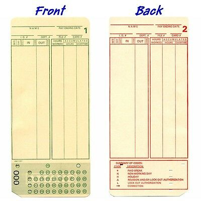 Amano MJR7000, MJR8000 Time Cards Box of 500 FREE SHIPPING
