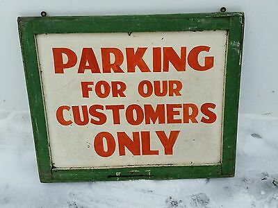 Vintage advertising parking for customers metal/wood sign store man cave