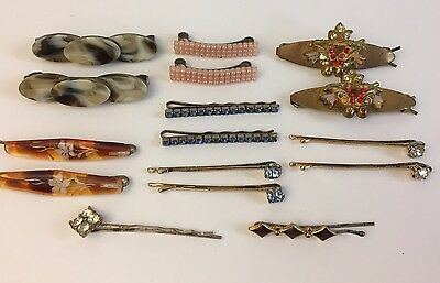 Vintage Lot Hair Clips Barrettes Bobby Pins Rhinestone Accessories
