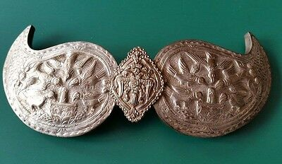 SUPER QUALITY!-Antique silver alloy belt buckle with floral ornaments+birds 19c.