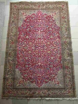 Antique Hand-woven Oriental-Persian carpet HAND MADE KNOTTED NATURAL WOOL 87x59""