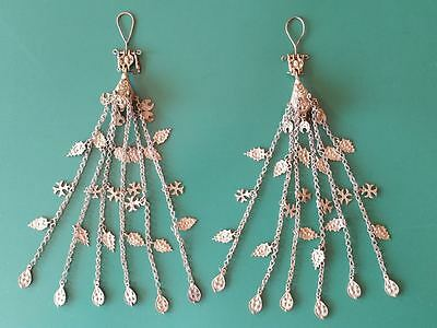 RARE pair 19th century silver alloy earrings with crosses and Hand knitted Chain