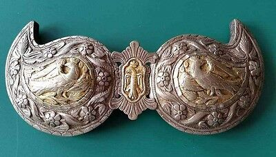 RARE MAGNIFICENT antique silver alloy belt buckle with crowned songbirds+GILDING