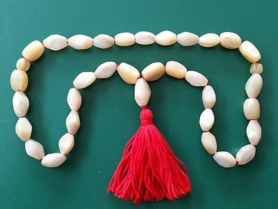 19th century ORIGINAL antique Rosary of handmade mother of pearl oval grains33+3