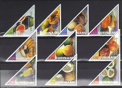 Surimane Mnh 2000 Triangle Stamps Showing Fruits