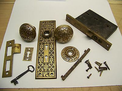 Antique Eastlake victorian brass door entry knob/lock set w/key