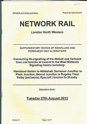 Supp'y Notice - Signalling & Permanent Way Alterations – Walsall & Cannock lines