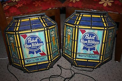 "2 Vintage 1980's Pabst Blue Ribbon ""stained glass look"" Lighted Beer Sign Sconce"