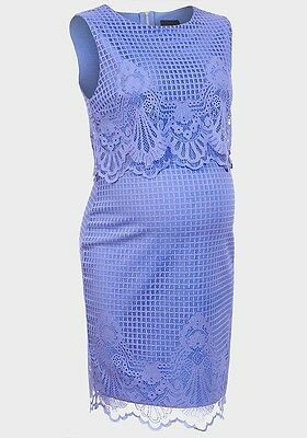 Ex Topshop Maternity Blue Lace Overlay Stretch Bodycon Dress UK 8,10,12 & 14
