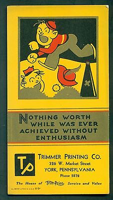 1930's York,PA - Trimmer Printing Co. Advertising Blotter