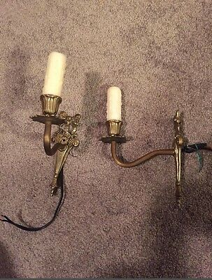Candle Lighting Brass Sconce Antique
