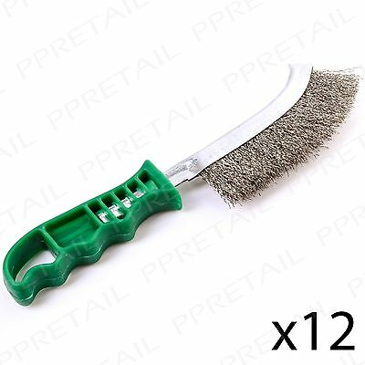 """PACK OF 12 Curved Stainless Steel Wire Brush 10"""" Rust Paint Removal Spid Tool"""