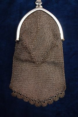 Gorgeous 36cm With Handle Silver Metal Mesh Suede Lined Purse Bag Art Deco Era
