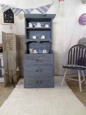 Shabby Chic Grey / Blue Kitchen Dresser Cupboard 3 Drawers & Shelves