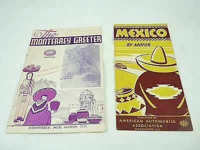 Vintage AAA MEXICO BY MOTOR Brochure & AAA 1939 MONTERREY MEXICO Greeter