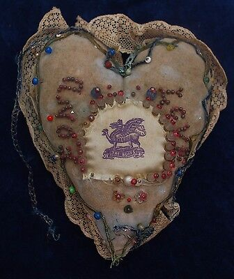 "Charming Antique Sweetheart 6"" Heart Shape Pin Cushion Buffs Military Silk Badge"