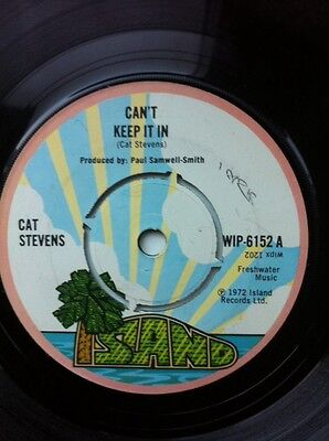 "Cat Stevens - Can't Keep It In / Crab Dance 7"" Vinyl Island WIP 6153 (1972)"