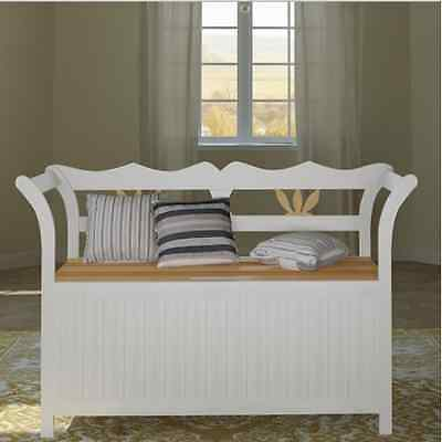 Wooden Bench Storage Seat Handmade Classic Cabinet Home Unit Chair Hallway White