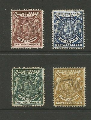 British East Africa 1896 Used Stamps Sg67 & 68, 70 & 72 Cat £25.50 (J2)