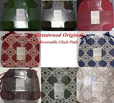 NEW Brentwood Originals Reversible Construction With Ties Chair Pads  2 PACK