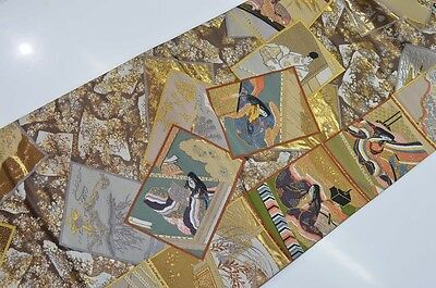 Wonderful Vintage Japanese Gold Silk Fukuro-Obi 'Heian Princesses and Nobles'