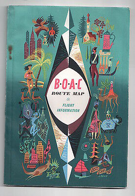 Boac Route Map & Flight Information Booklet 1960 B.o.a.c.