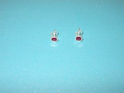 Sterling Silver July Birthstone Pierced Earrings 4mm Present Jewellery Birthday