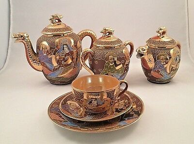 Vintage Handpainted 21 piece Satsuma Moriage Dragon w/Geisha Porcelain Tea Set