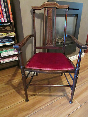 Antique Edwardian Inlaid Mahogany Salon/ Hall Chair