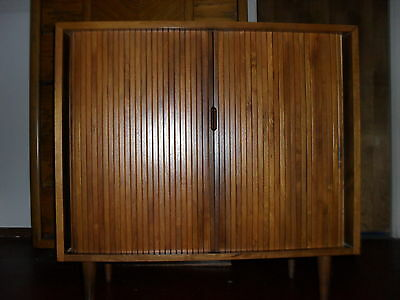 Danish Modern Walnut Tambour Door Console Liquor Cabinet Bar ExCond Priced Lower