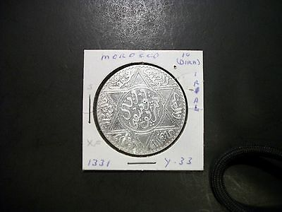 Morocco 1331 1 Rial (10 Dirham) large silver coin