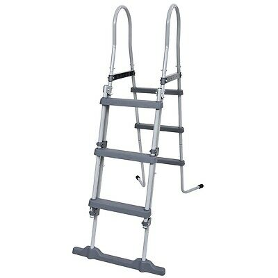 3 Step Swimming Pool Safety Ladder Above Ground Grey Plastic Steel Frame 106cm