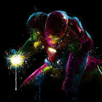 Ironman Super Hero Abstract Colourful WALL ART CANVAS FRAMED OR POSTER PRINT