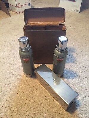 Twin Alladin Stanley Stainless Steel Thermos' w/leather carry case Storage Case