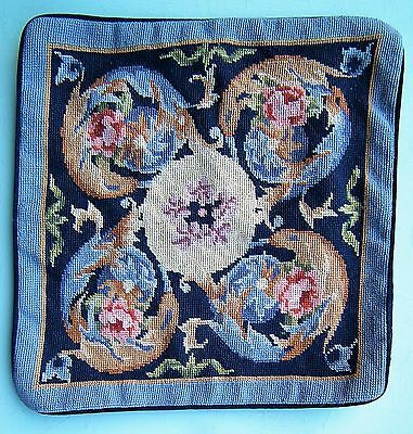 VINTAGE CUSHION COVER 80s 90s HANDMADE TAPESTRY PINK FLORAL ANTIQUE STYLE MUTED