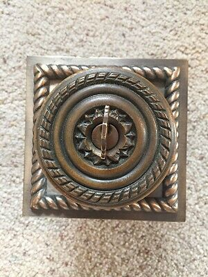 Heavy Antique Victorian Schlage Brass Door Knob Set W/ Faceplate-Old-Vtg