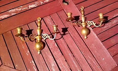 Vintage Pair Of Wall Hanging Brass Sconce / Candle Holders