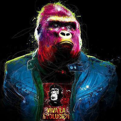Gorilla Ape Cool Leather Jacket Abstract WALL ART CANVAS FRAMED OR POSTER PRINT