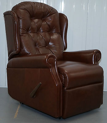 Rrp £1270 Sherborne Upholstery Leather Recliner Armchair Wheels Large Handle