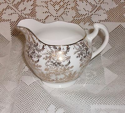 Vintage Royal Vale  Pretty Gold  Floral Chintz  Milk Jug