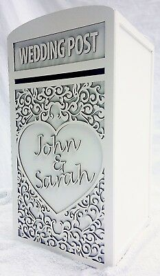 Large Wedding Card Post Box (Personalised) - (White)