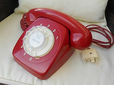 Vintage Retro Red AWA Dial Telephone 70s Exellent working Cond.