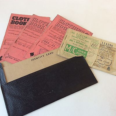Vintage 1940's clothes and fuel ration book
