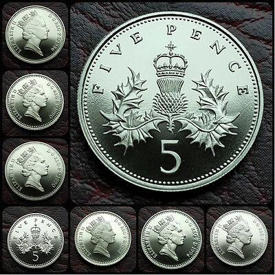 UK British Proof Large & Small Type 5p Five Pence Coin. Choose your year. Mint!
